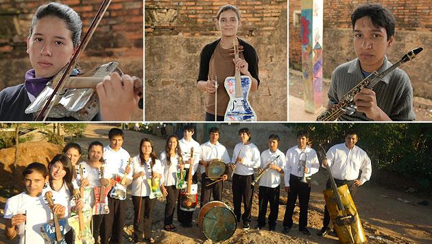 Jugend sch�pft Hoffnung durch M�ll-Instrumente (Bild: Landfill Harmonic)