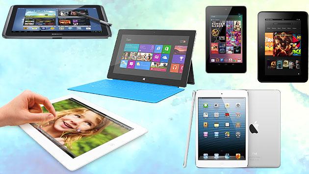 Tablet-Verkäufe 2013 um zwei Drittel gestiegen (Bild: Amazon, Apple, Google, Microsoft, Samsung, krone.at-Grafik)