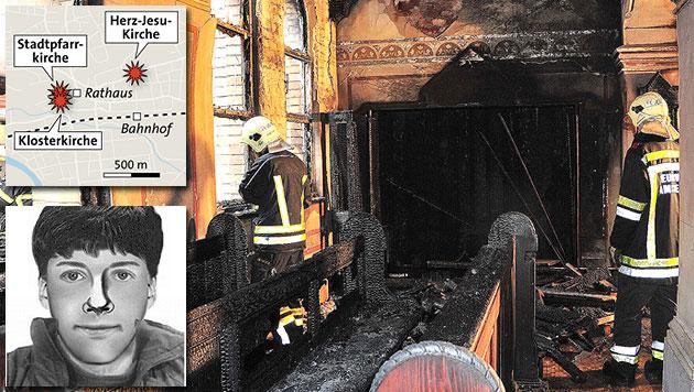 Feuer in 3 Kirchen: Amstetten sucht den Brandstifter (Bild: APA/Paul Plutsch, APA-Grafik, Polizei)
