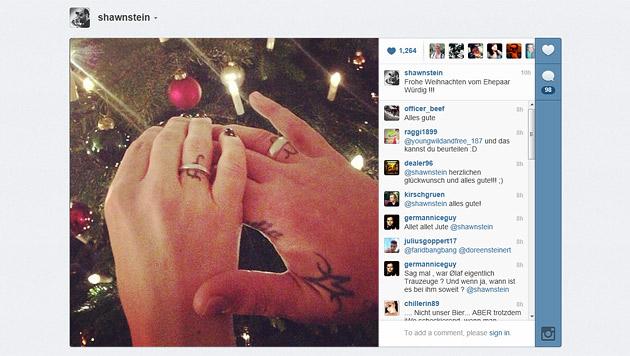 Sido und Charlotte Engelhardt haben geheiratet (Bild: instagram.com/shawnstein)