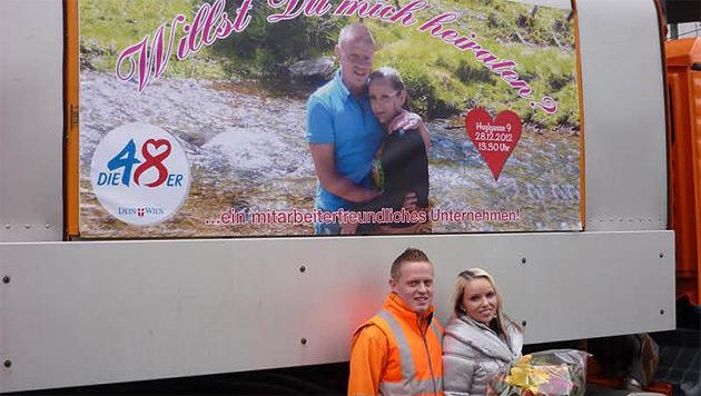 Michael B. machte Heiratsantrag auf M�llwagen (Bild: Michael B�ck)