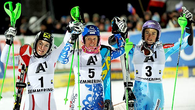 Nur Velez-Zuzulova am Semmering schneller als Zettel (Bild: APA/HERBERT NEUBAUER)