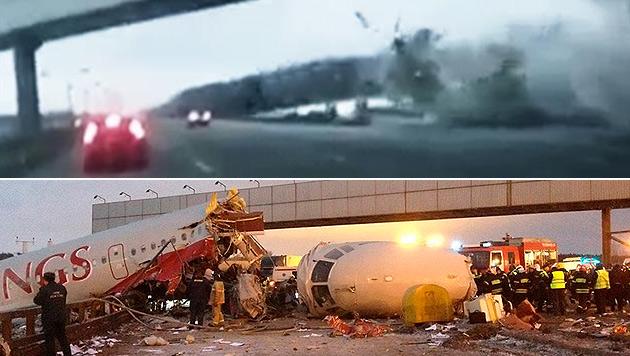 Moskau: Video von Autofahrer zeigt Flugzeugungl�ck (Bild: Zoom.In/dapd)