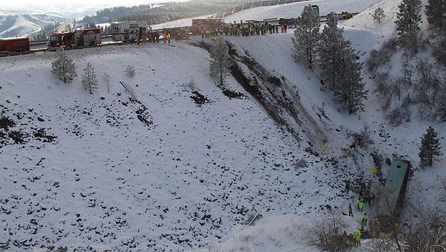 US-Bus st�rzte �ber B�schung: Neun Tote, 39 Verletzte (Bild: dapd)