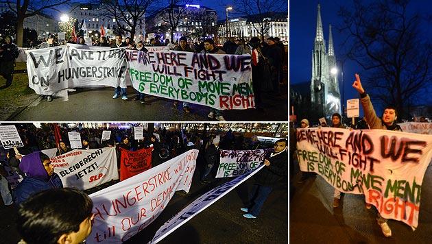 Votivkirche: Asyl-Camper wollen weiter ausharren (Bild: APA/HERBERT NEUBAUER)