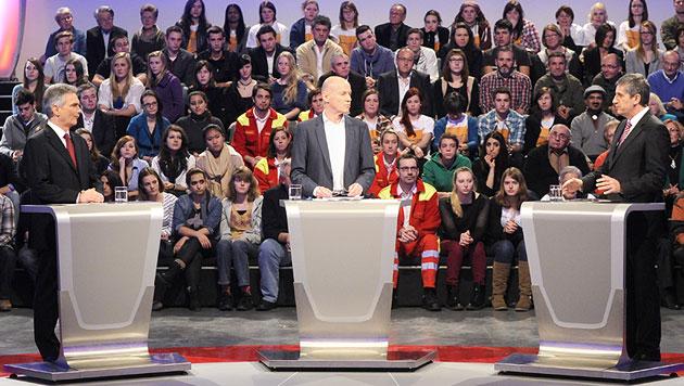 Wehrpflicht: Kanzler und Vize lieferten sich ORF-Duell (Bild: APA/HERBERT PFARRHOFER)