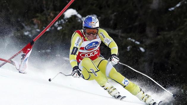 Aksel Lund Svindal im 1. Training am Lauberhorn vorne (Bild: EPA)