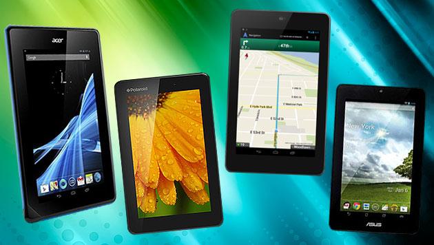 Android-Tablets zum Kampfpreis auf dem Vormarsch (Bild: thinkstockphotos.de, Asus, Acer, Google, Polaroid)