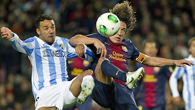 Barca holt im Cup-Hinspiel gegen Malaga nur 2:2 (Bild: EPA)