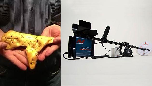 Schatzsucher findet 5,5 Kilo schweren Goldklumpen (Bild: YouTube.com, Minelab)