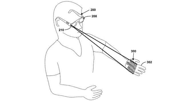 Google erprobt Lasertastatur für Brillencomputer (Bild: US-Patentamt)