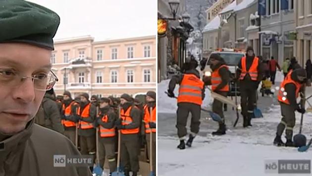 NÖ: Polit-Streit um Schnee schaufelnde Rekruten (Bild: Screenshot ORF/NÖ-Heute)