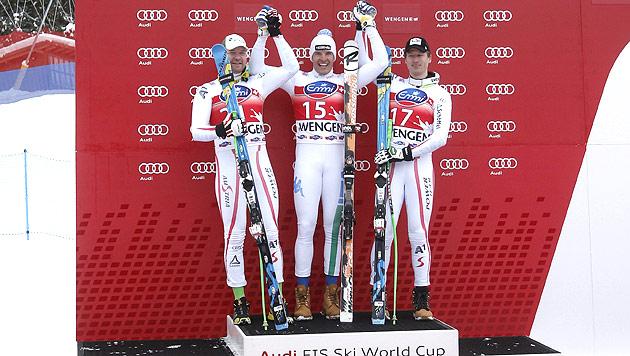 Innerhofer-Triumph vor Klaus Kröll und Hannes Reichelt (Bild: EPA)