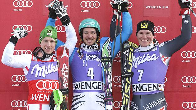 Neureuther gewinnt vor Marcel Hirscher und Kostelic (Bild: EPA)
