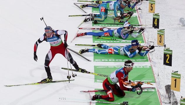 Österreichs Herren-Biathlon-Staffel holt Platz drei in Antholz (Bild: EPA)
