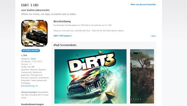 """Gefälschte """"DiRT 3""""-App prellt Apple-Nutzer um ihr Geld (Bild: Screenshot iTunes)"""