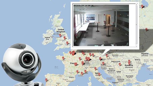 Sicherheitslücke in IP-Kamera gewährt intimste Einblicke (Bild: thinkstockphotos.de, cams.hhba.info, krone.at-Grafik)