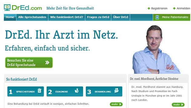 """VKI warnt vor Online-Ordination """"DrED"""" (Bild: Screenshot dred.com/at)"""