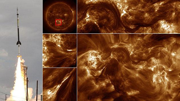 """""""Magnetische Z�pfe"""" heizen Atmosph�re der Sonne auf (Bild: NASA, Grafik krone.at)"""