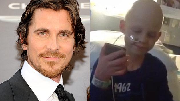 Christian Bale �berrascht jungen krebskranken Fan (Bild: dapd, YouTube.com)