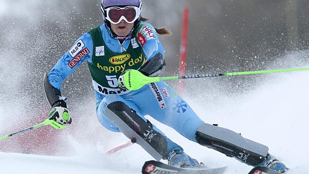 Tina Maze gewinnt Slalom in Marburg, Zettel wird Dritte (Bild: EPA)