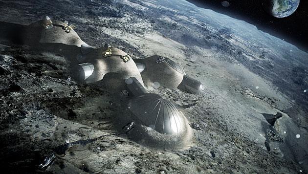 ESA will zukünftige Mondbasis mit 3D-Drucker bauen (Bild: Foster+Partners)