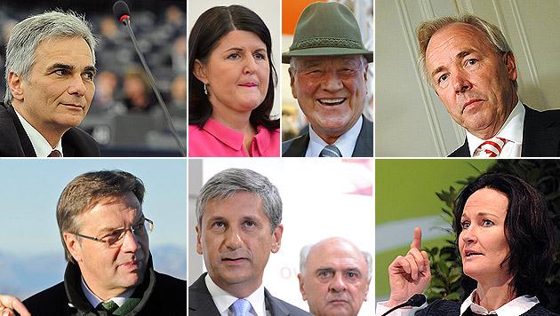 "Superwahljahr ""13: Wer hoffen darf, wer bangen muss (Bild: EPA, APA/Gindl/Oczeret/Pfarrhofer/Fohringer/Eggenberger)"