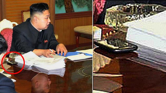 Rätselraten: Von wem ist das Handy des Kim Jong Un? (Bild: AFP, krone.at-Grafik)