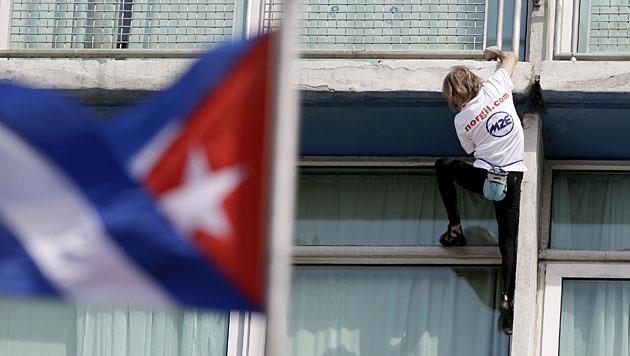 """Spiderman"" bestieg ""Habana Libre""-Hotel in Kuba (Bild: AP)"