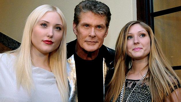 Hayley mit Schwester Taylor Ann und Vater David Hasselhoff (Bild: APA/Herbert Pfarrhofer)