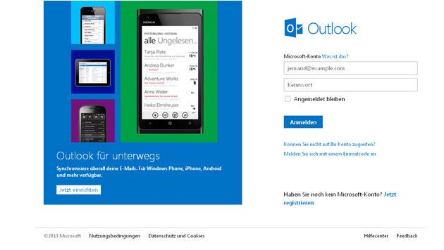 Microsoft startet Hotmail-Nachfolger im Regelbetrieb (Bild: Screenshot, outlook.com)