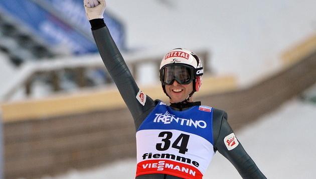 Mario Stecher holt bei WM im Val di Fiemme Silber (Bild: EPA)