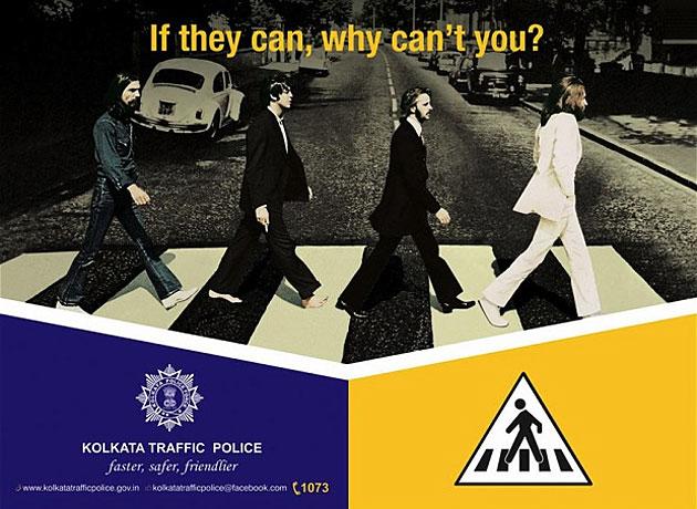 Polizei in Kalkutta wirbt mit Beatles für Zebrastreifen (Bild: Kolkata Traffic Police)