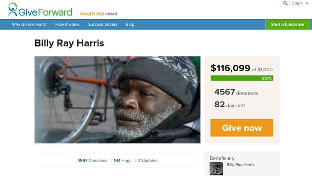 Obdachloser gab Ring zurück - nun wird ihm geholfen (Bild: www.giveforward.com/billyray)