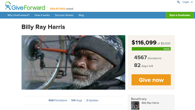 Obdachloser gab Ring zur�ck - nun wird ihm geholfen (Bild: www.giveforward.com/billyray)