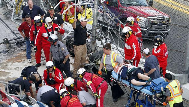 Unfall bei NASCAR-Rennen in Daytona fordert 28 Verletzte (Bild: AP)