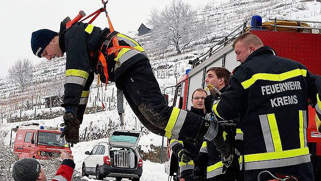 Feuerwehr Krems rettete Hund aus Drei-Meter-Schacht (Bild: FF Krems/M. Wimmer)