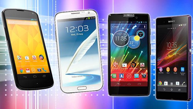 Wieso Smartphone-Displays immer größer werden (Bild: thinkstockphotos.de, Hersteller, krone.at-Grafik)