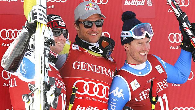 Svindal holt mit Sieg in Kvitfjell den Super-G-Weltcup (Bild: EPA)