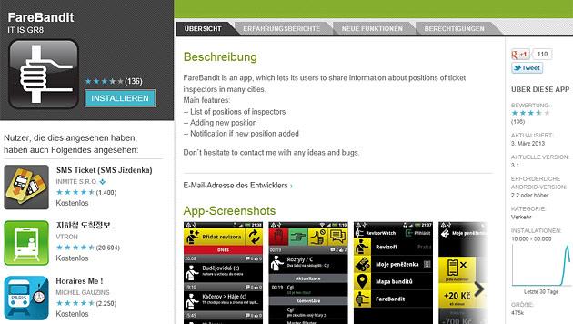 Schwarzfahrer-App gewinnt Preis in Tschechien (Bild: Screenshot play.google.com)