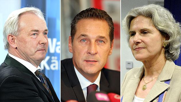 FPÖ-Parteichef Strache schwer in der Klemme (Bild: APA/HERBERT NEUBAUER, Peter Tomschi, APA/HERBERT PFARRHOFER)