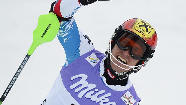 Hirscher steht als Gesamtweltcup-Sieger fest (Bild: APA/HARALD SCHNEIDER)