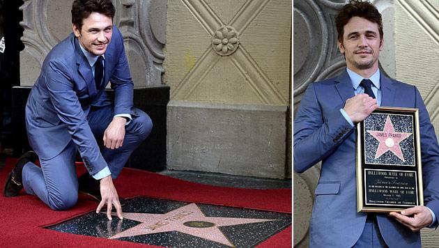 James Franco kniete auf seinem Hollywood-Stern (Bild: AP)