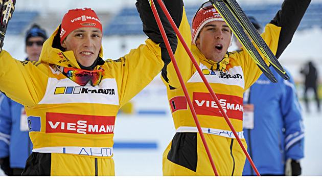 Frenzel/Rydzek im Team-Sprint vorne, ÖSV-Duos 5. und 6. (Bild: EPA)