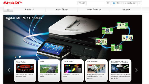 Sharp will Drucker-Sparte nicht an Samsung verkaufen (Bild: Screenshot sharp-world.com)