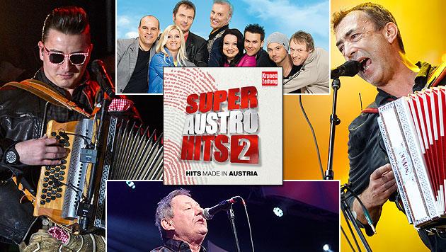 """Die """"Super Austro Hits"""" gehen in die zweite Runde (Bild: Sony Music , EPA, Chris Koller, Wurz Rainer)"""