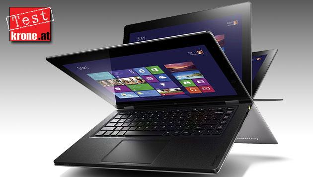 Lenovo Yoga 13: Der flexible x86-Hybrid im Test (Bild: Lenovo, krone.at-Grafik)