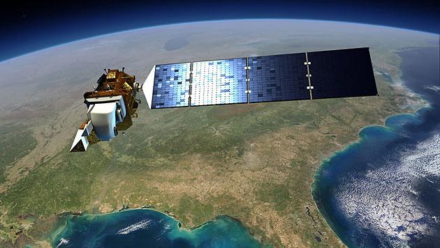 """Künstlerische Illustration: """"Landsat 8"""" im Orbit über der Erde (Bild: NASA/GSFC/Landsat)"""