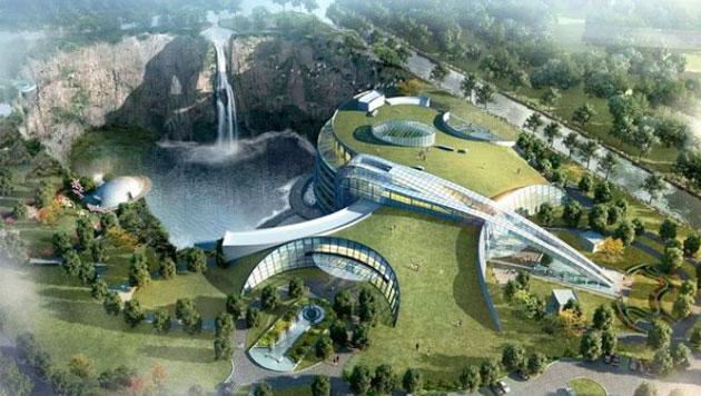 Neues Luxushotel wird in 100 Meter tiefen Krater gebaut (Bild: Shanghai Shimao Property Group)