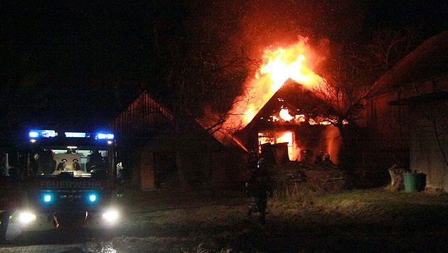 NÖ: Scheune und Gartenhaus gehen in Flammen auf (Bild: APA/BFKDO HOLLABRUNN)
